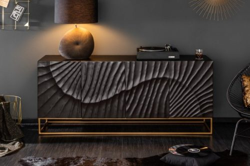 Komoda SCORPION 177 cm drewno mango wzór 3D
