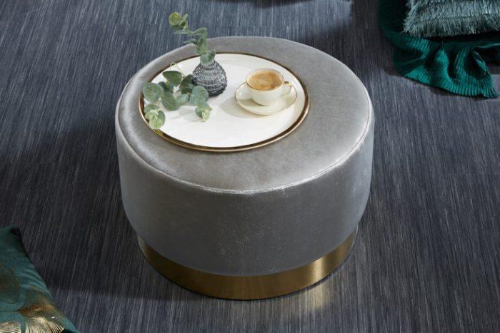 Elegancki taboret NOWOCZESNY BAROQUE 55 cm aksamitny srebrny
