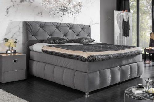 Ekstrawaganckie łóżko sprężynowe BOUTIQUE 180x200 cm szary