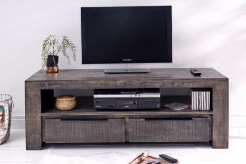 Masywny stolik TV IRON CRAFT  130cm drewno mango szara