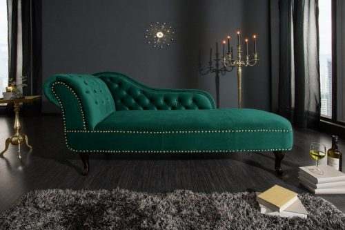 Szezlong Chesterfield 170 cm zielony aksamit
