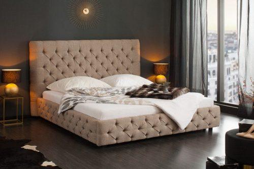 Eleganckie łóżko Chesterfield PARIS 180x200 cm szare