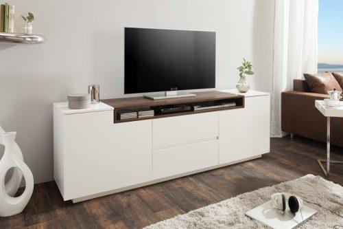 Nowoczesna komoda telewizyjna LOFT 180 cm matowa biel orzech