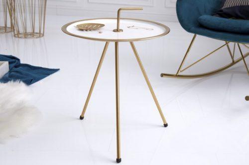 Elegancki stolik boczny biały SIMPLY CLEVER 42 cm złota rama styl RETRO