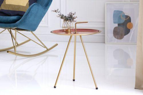 Elegancki stolik boczny kolarowy SIMPLY CLEVER 42 cm złota rama styl RETRO