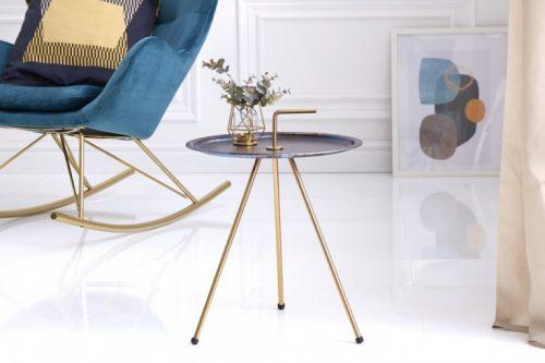 Elegancki stolik boczny niebieski SIMPLY CLEVER 42 cm złota rama styl RETRO