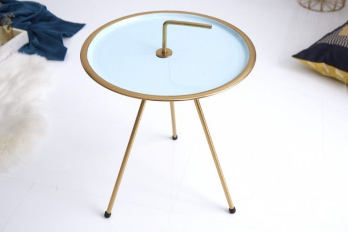 Elegancki stolik boczny Turkusowy SIMPLY CLEVER 42 cm złota rama styl RETRO