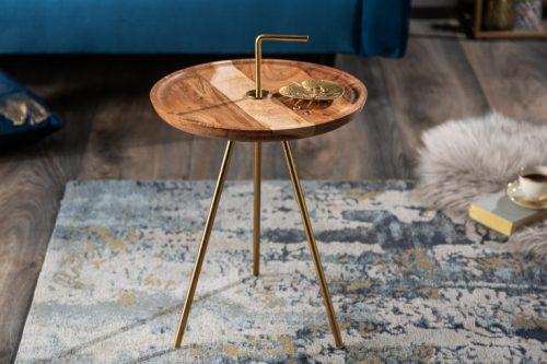 Drewniany ręcznie robiony stolik kawowy SIMPLY CLEVER 36 cm akacja