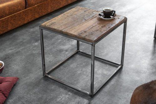 Stolik przemysłowy BARRACUDA 40 cm drewno