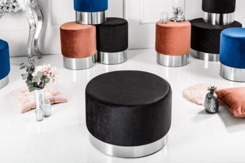 Elegancka pufa Modern BAROQUE 55 cm aksamitny czarny