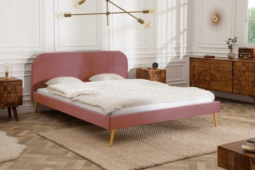 Retro Eleganckie łóżko FAMOUS 140x200cm ciemnyróż aksamitna tkanina