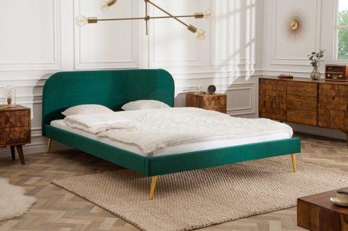 Retro Eleganckie łóżko FAMOUS 140x200cm szmaragdowo - zielony aksamitna tkanina