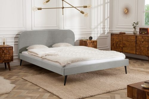 Retro Eleganckie łóżko FAMOUS 140x200cm srebrno-szary aksamitna tkanina