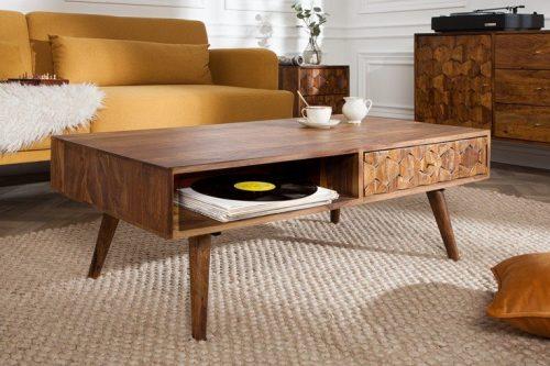 Masywny stolik kawowy MYSTIC 110cm drewno Sheesham natura