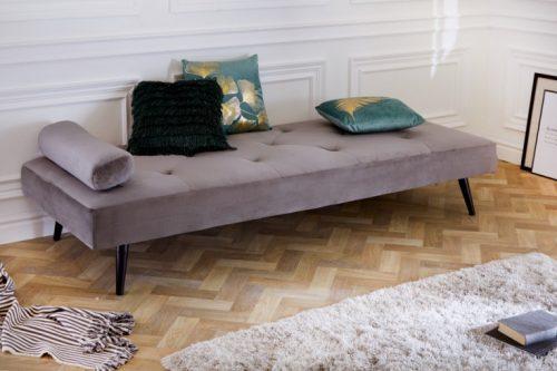 Eleganckie łóżko dzienne DAYDREAM 197 cm srebrno-szara aksamit