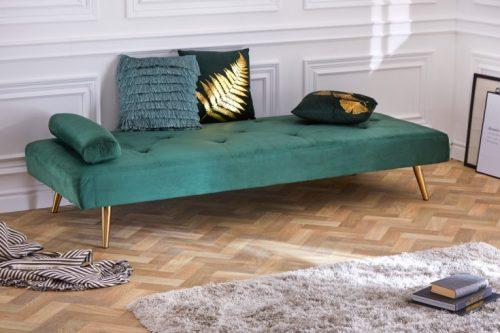 Eleganckie łóżko dzienne DAYDREAM 197 cm zielone rozkładane