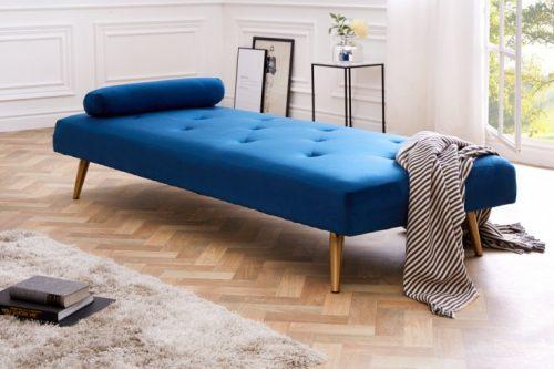 Eleganckie łóżko dzienne DAYDREAM 197 cm niebieskie rozkładane aksamit