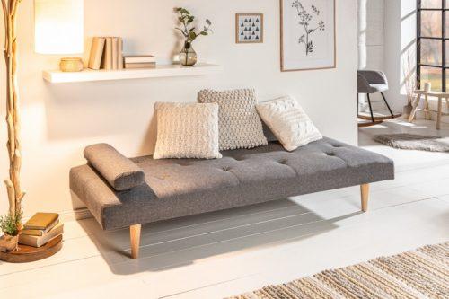 Eleganckie łóżko dzienne DAYDREAM 197 cm szare rozkładane