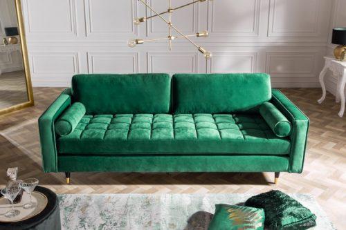 Elegancka sofa VELVET 225 cm zielona aksamitna sofa 3-osobowa