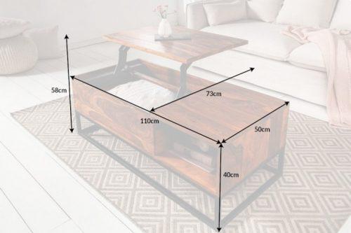 Solidny stolik kawowy MAKASSAR FUNCTION 110 cm
