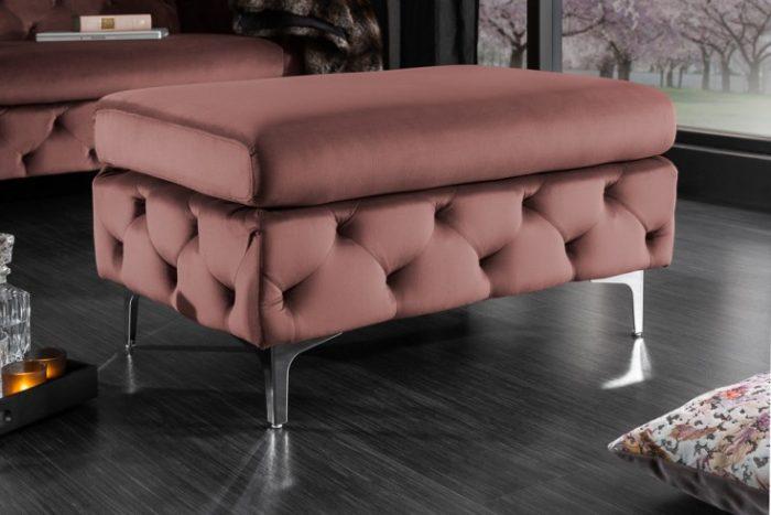 Elegancki taboret Chesterfield MODERN BAROQUE 90 cm róż