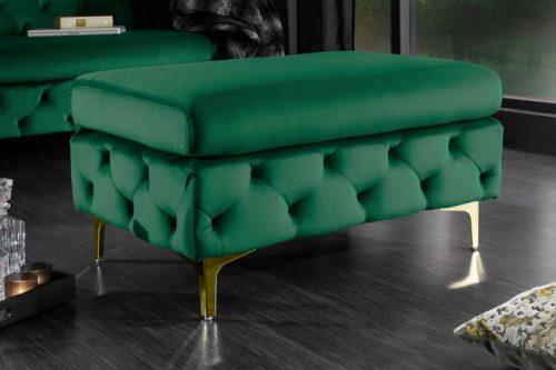 Elegancki taboret Chesterfield MODERN BAROQUE 90 cm szmaragdowo-zielony