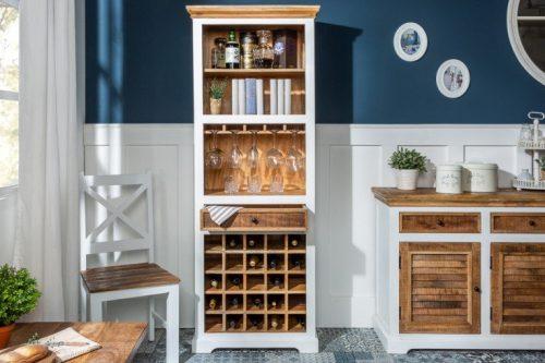 Elegancki stojak na wino LONG ISLAND 196 cm drewno mango wiejski styl
