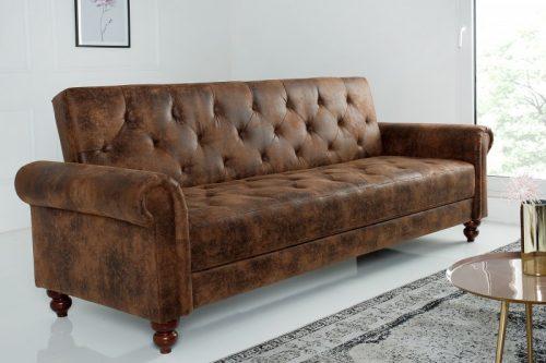 Sofa MAISON BELLE  220cm brązowy vintage z funkcją spania Chesterfield