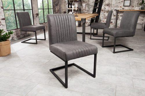 Nowoczesne krzesło wspornikowe BIG ASTON Vintage szary