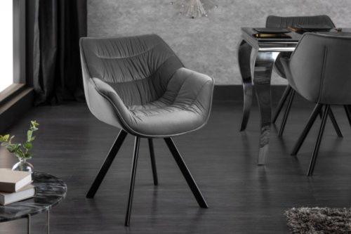 Krzesło retro DUTCH szare aksamit