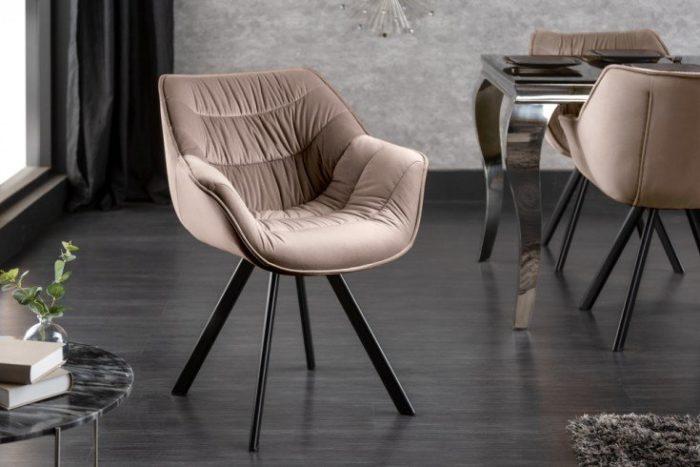 Krzesło Comfort aksamit szampański szary