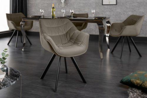 Krzesło  DUTCH aksamit beżowe podłokietniki