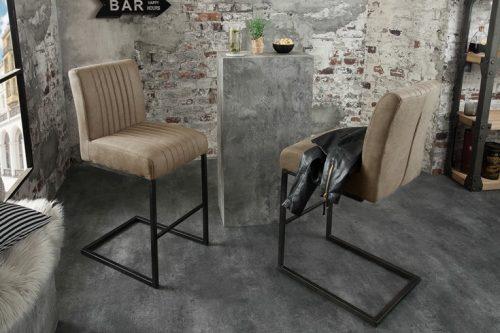 Krzesło barowe BIG ASTON taupe krzesło na płozach