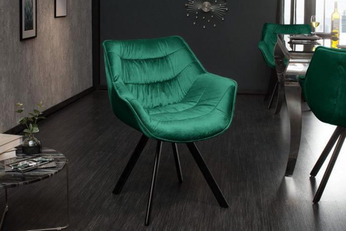 Krzesło retro DUTCH aksamit w kolorze szmaragdowej zieleni
