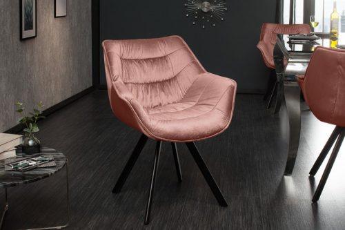 Krzesło retro DUTCH ciemnoróżowe aksamit