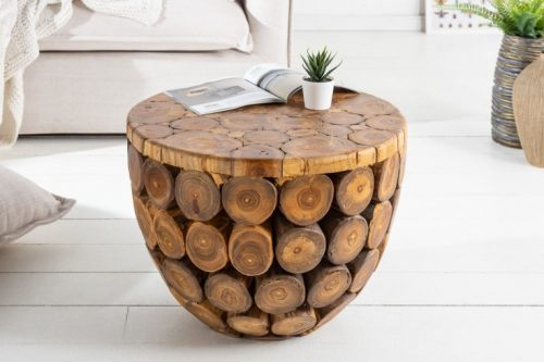 Naturalny stolik kawowy PURE NATURE okrągły 50 cm teak