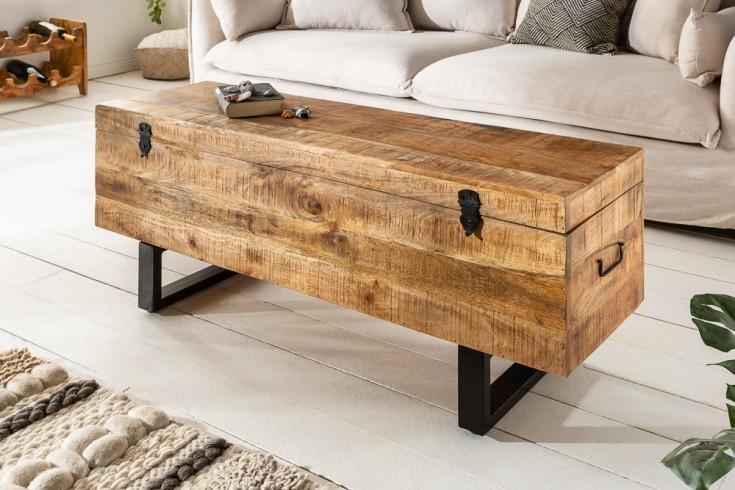 Industrialna ławka / schowek FACTORY LOFT 115cm drewno mango