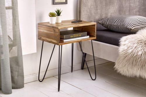 Ręcznie robiony stolik nocny SCORPION 40 cm akacja