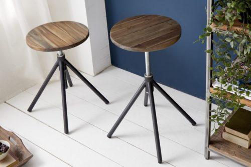 Naturalny Taboret / stołek FACTORY akacja styl przemysłowy