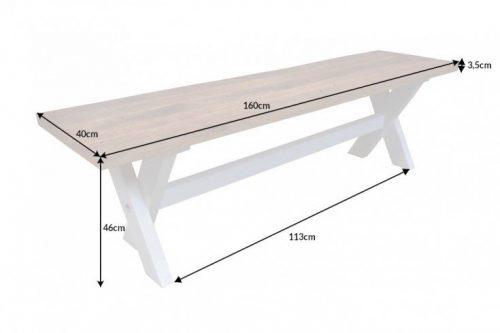 Elegancka ławka LONG ISLAND 160 cm drewno mango w stylu wiejskim
