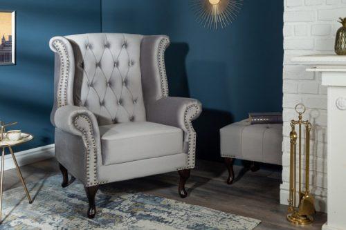 Fotel 85 cm srebrnoszary aksamit styl Chesterfield