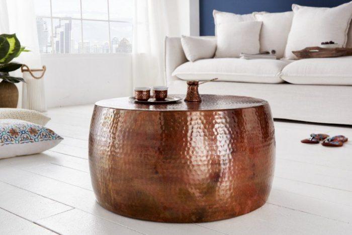 Ręcznie robiony stolik kawowy ORIENT III 60 cm miedziany
