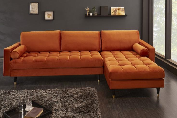 Elegancka sofa narożna VELVET 260 cm ruda aksamitna sofa