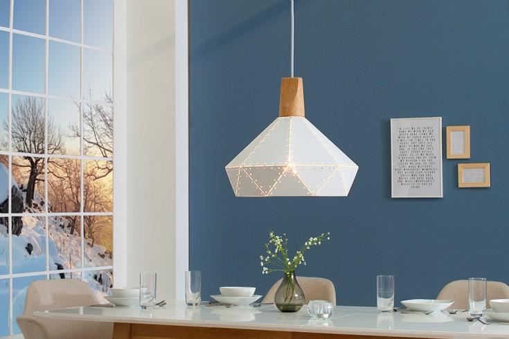 Nowoczesna lampa wisząca SCANDINAVIA II biała z litego drewna