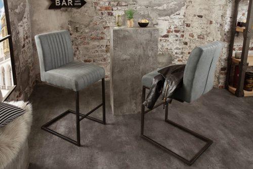 Krzesło barowe BIG ASTON antyczny szary płozy