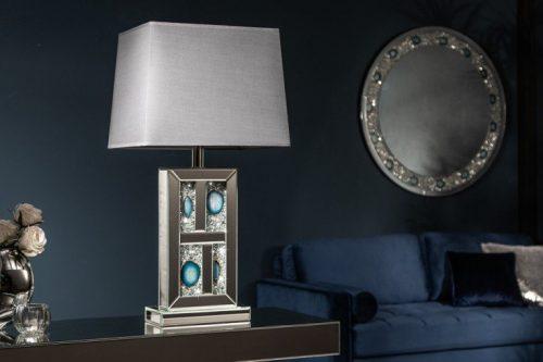 Ekstrawagancka lampa stołowa DIAMONDS ACHAT 74 cm z agatowymi kamieniami i kryształami
