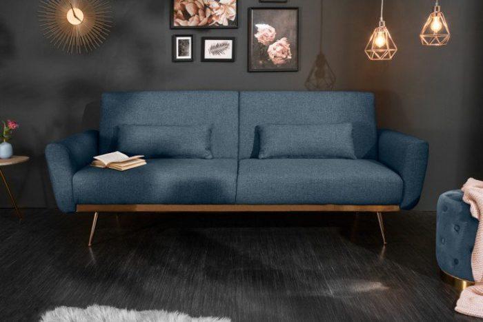 Retro sofa rozkładana BELLEZZA 208 cm niebieska