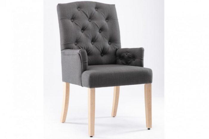 Pikowany fotel CHESTERFIELD szary