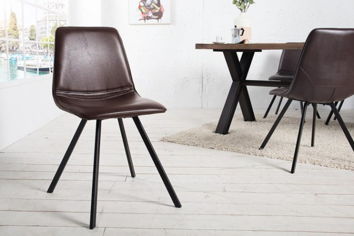 Krzesło retro AMSTERDAM CHAIR brązowa skóra