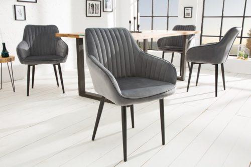 Krzesło do jadalni TURIN srebrno-szare aksamit podłokietniki